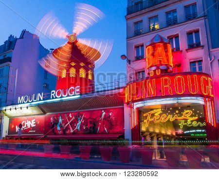Paris France-March 18 2016 : The famous cabaret Moulin Rouge located close to Montmartre in the district of Pigalle on boulevard Clichy in the 18th arrondissement of Paris.