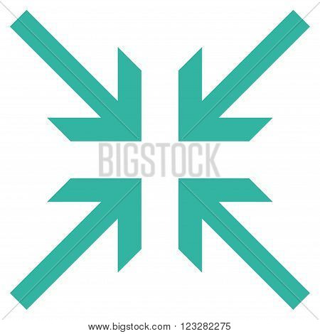 Collide Arrows vector icon. Style is flat icon symbol, cyan color, white background.
