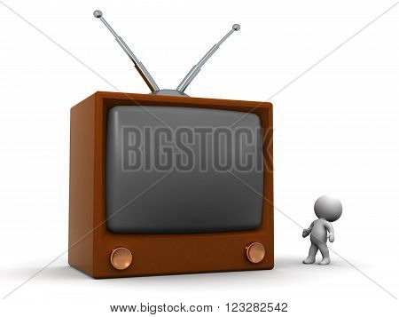 Small 3D character looking up at a large retro television. Isolated on white background.