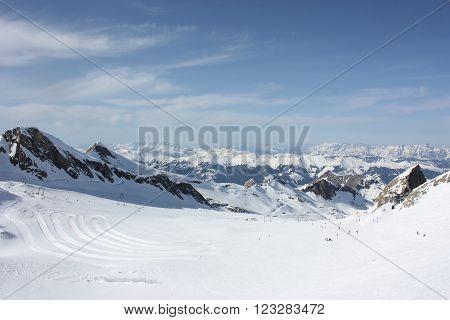 Mountain landscape. Skiing resort in Apls, Kaprun, Austria.