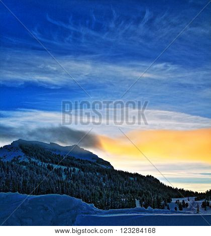 Togwotee Pass Absaroka Mountains during the winter as seen at sunset in Wyoming USA