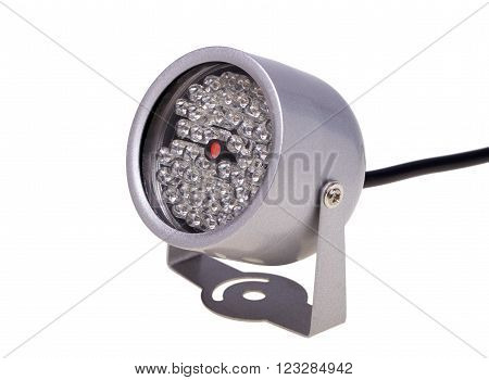 Infrared illuminators night lighting for security systems and video surveillance isolated on white background
