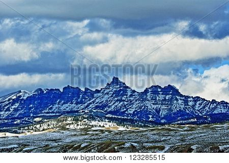Sublette Peak in the Absaroka Mountain Range on Togwotee Pass between Dubois and Jackson Hole Wyoming USA