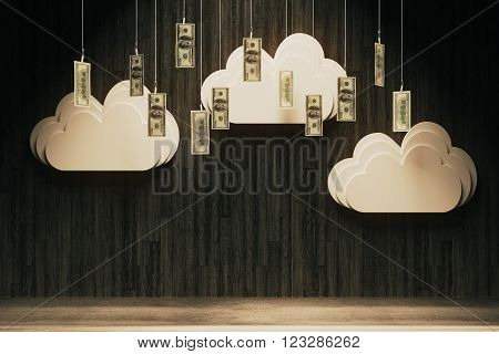 Wealth concept with abstract money rain in room with dark wooden wall. 3D Render