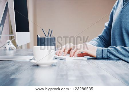 Coffee And Typing Hands