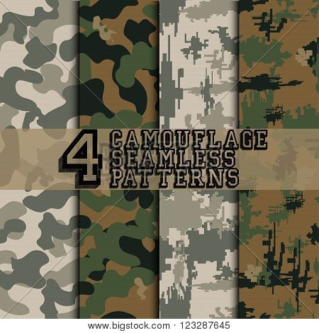 Set of four camouflage seamless patterns, military style background,  digital style camouflage,  vector