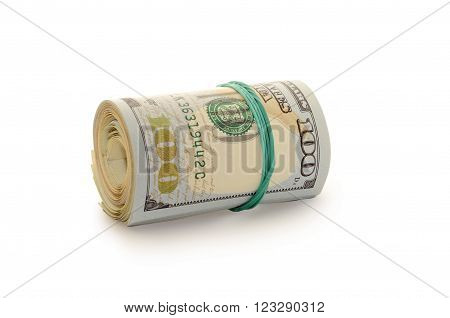 roll of money dollars bounded by rubber band isolated on a white background