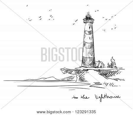 drawinf os a kighthouse, vector sketch, eps 10