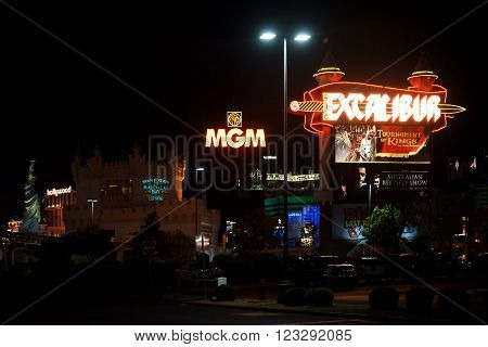 LAS VEGAS, USA - DECEMBER 23: Parking behind the luxury hotels and casinos MGM, New York New York and Excalibur at night of December 23, 2015 in Las Vegas.
