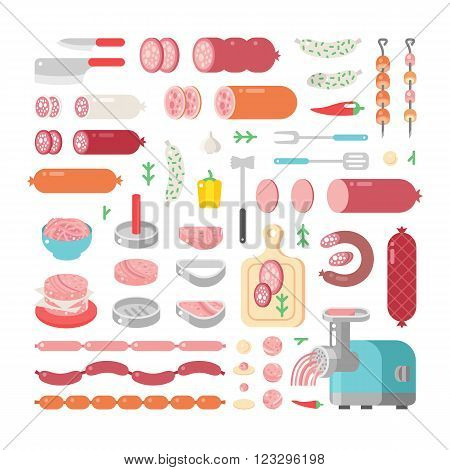 Assortment variety of processed cold meat products vector icons. Variety of food delicious meat icons products and sausage meat products vector icons.