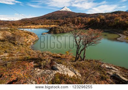 Autumn in Patagonia. Tierra del Fuego Beagle Channel the Argentina side