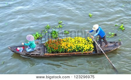 Soc Trang, Vietnam - February 3rd, 2016: The couple sold strenuous rowing on the river daisies to survive in the morning on the Mekong river in Soc Trang, Vietnam