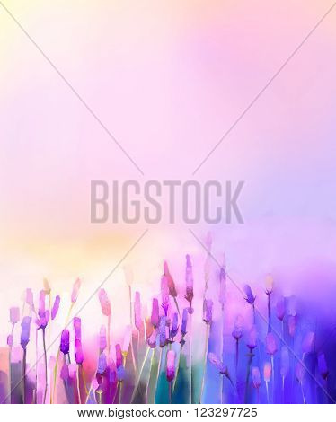 Oil painting violet lavender flowers in the meadows. Abstract oil painting sunshine at flower field in soft purple color and blur style