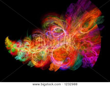 poster of abstract colorful rays feather on black background