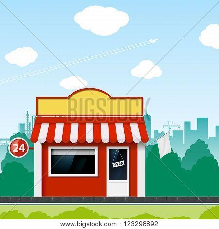 Shop on a city street. Cartoon. Stock vector illustration.