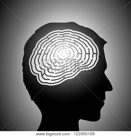Labyrinth in the human head. Stock vector illustration.