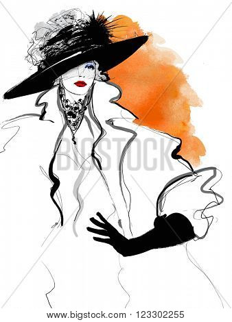 Fashion woman model with a black hat - vector illustration