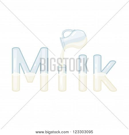 Milk vector lettering. Milk logo. Milk lettering with milk jug and glass letters isolated on white background. Text vector illustration. Milk word and jug. Dairy products