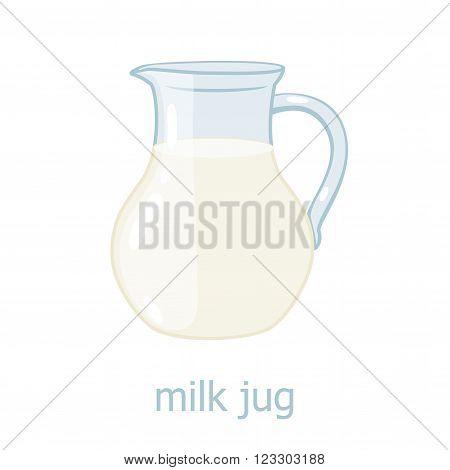 Milk jar cartoon illustration. Kitchen utensil. Glass jar with milk. Dairy production. Food ingrediensts