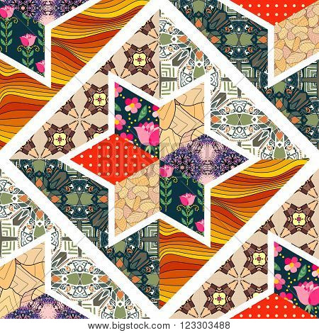Seamless patchwork pattern. Beautiful quilt design. Vector illustration.