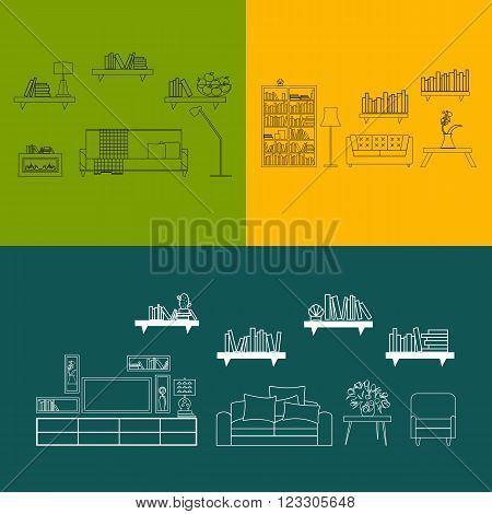 Home, hotel room interior with comfortable furniture outline vector illustration. Outline furniture bunners. Living room outline furniture. Outline furniture color bunner set. Outline furniture concept