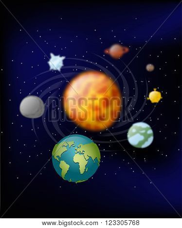 Planets Of Solar System. Moon And  Earth. Jupiter And Mars. Sun. Planets Revolve Around The Sun. Bla