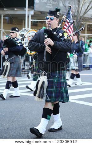 NEW YORK - MARCH 17, 2016: Bagpipers  marching at the St. Patrick's Day Parade in New York.