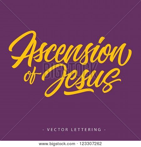 Yellow ascension of Jesus inscription on purple background