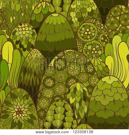 Stylized seamless pattern with green trees and bushes. Vector botanical background. Asian theme