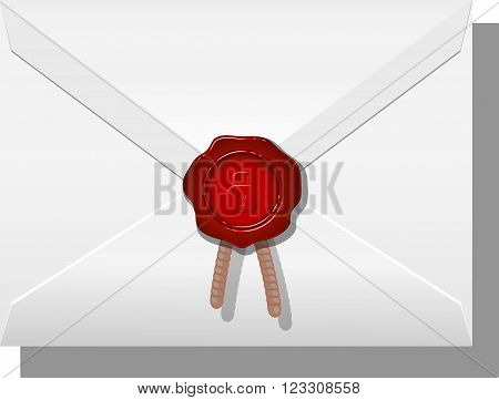 Envelope sealed with wax. Vector illustration on white background. eps 10