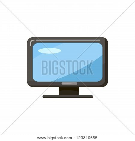 Monitor icon in cartoon style isolated on white background