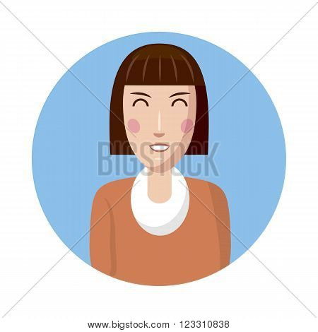Woman avatar icon in cartoon style isolated on white background. White woman avatar profile picture