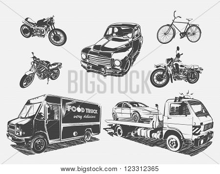Vector illustration set of transport motorcycle, bicycle, car, tow truck, food truck. Black and white illustration of transport on the light background isolated. Different road transport.