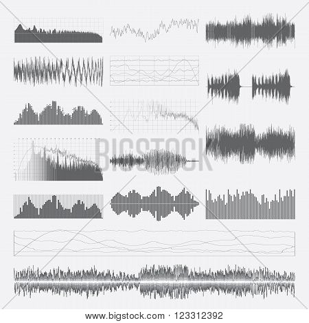 Music sound waves vector set isolated on a white background. Classical music sound waveform. Sound waves vector black and white. Audio equalizer. Sound waves wallpaper. Sound waves clipart.
