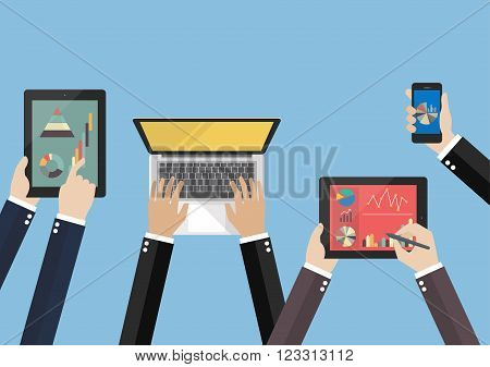 Hands hold device electronics gadget. laptop phone tablet flat vector illustration