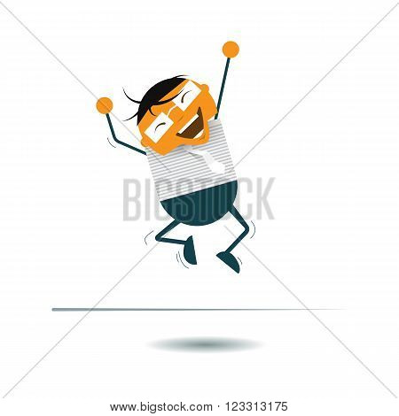 Vector Illustration Cute cartoon. Businessman smiling and jumping in the air. Happy and successful business