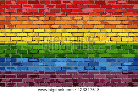 Gay pride flag on a brick wall - Illustration, Rainbow flag on brick textured background, Flag of gay pride movement painted on brick wall,Gay and transgender community in brick style