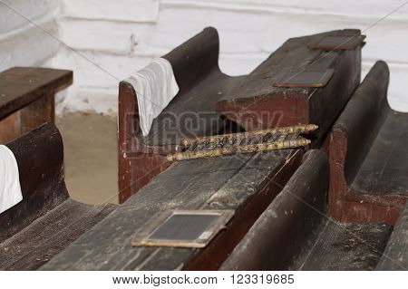a schoolroom, old vintage wooden desk background education