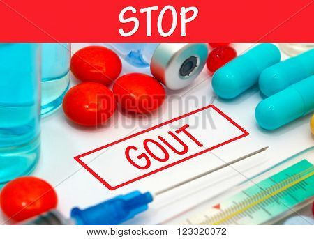 Stop gout. Vaccine to treat disease. Syringe and vaccine with drugs.