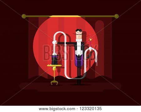Conjurer in a circus. Magic show, illusionist with trick, entertainment and performance, vector illustration poster