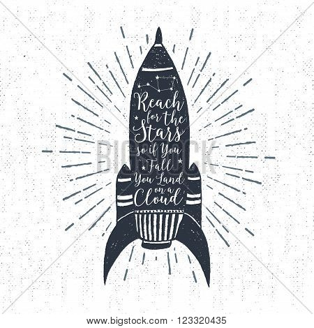 Hand drawn textured vintage label retro badge with rocket vector illustration and