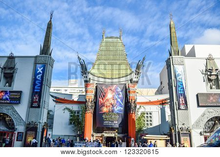 Los Angeles, CA, USA . January 16, 2016: hollywood boulevard View Grauman's Chinese Theater on Hollywood Boulevard. The theater has hosted numerous premieres and events since it opened in 1927.
