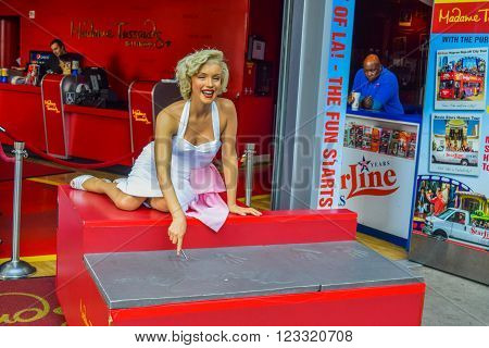 Los Angeles, California, USA . January 16, 2016: Marilyn Monroe, The Hollywood Walk of Fame stretches for 15 blocks of sidewalk on Hollywood Boulevard. Madame Tussauds Hollywood wax museum
