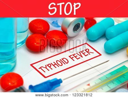 Stop typhoid fever. Vaccine to treat disease. Syringe and vaccine with drugs.