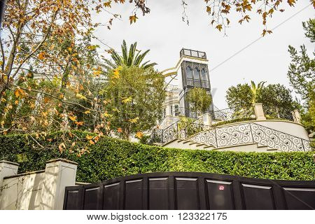 Beverly Hills, CA, USA, January 16, 2016: Michael Jackson's home California Dream Houses Beverly Hills .Beautiful homes and estates in Los Angeles, CA.
