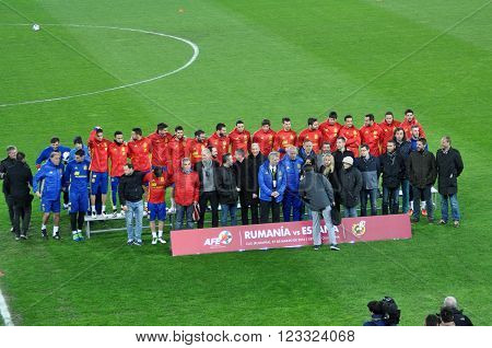 National Football Team Of Spain During A Photo Session In The Stadium