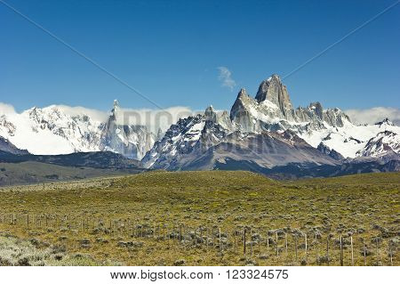 scenic view on mountain Fitz Roy in Argentina Patagonia on the road to Chalten