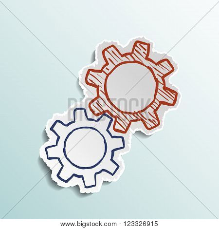 Icon the mechanical gears. Stock vector illustration.