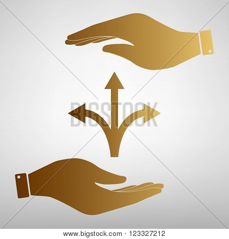 Three-way direction arrow sign. Save or protect symbol by hands. Golden Effect.