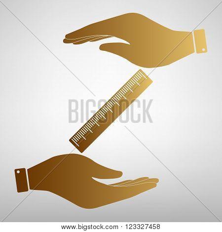 Centimeter ruler sign. Save or protect symbol by hands. Golden Effect.
